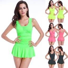 18e42a367603c Ladies Skirted Swimsuits NZ - One piece swimdress woman slimming skirt  swimsuits bathing suits dress lady