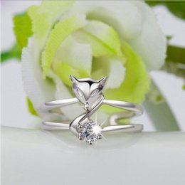 $enCountryForm.capitalKeyWord NZ - Crystal Cute Little Fox Shape European Rings Finger Wholesale Fashion for Party Girls Sisters Women 925 Jewelry Sets Love Cheap Prices