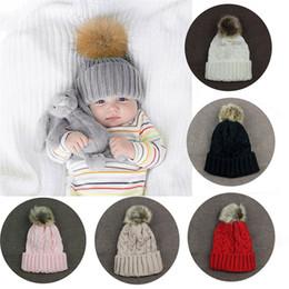 Toddler Crochet Australia - Hot Sale Baby Toddler Kids Boys Girls Knitted Caps Cute Hats Crochet Winter Warm Fur Pom Hat Crochet Cap 8 Colors