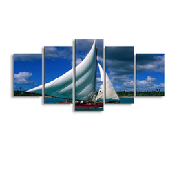 definition painting Canada - 5 pieces high-definition print sailboat canvas oil painting poster and wall art living room picture HaiD-012
