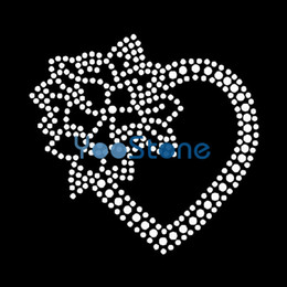 rhinestone hotfix heart NZ - Rose Heart Rhinestone Transfer Iron On Hotfix Motif Hot Fix Applique