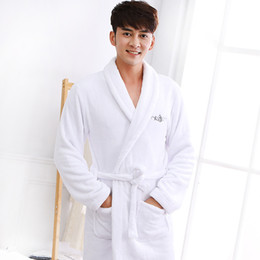 2c432121d3 Winter Bathrobe men white thick coral fleece kimono bath robe pijamas long  soft warm thicken lovers plus size XL Bridesmaid Robe