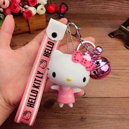 17aee4d0f 2018 New Hello Kitty Women Keychain Chimes Cute Cartoon Girls Gift Fashion  Wrist Band Car Bag Key Ring Trinket Couple Keychain