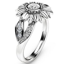 sunflower rings 2019 - 2019 Sunflower Color Zircon Ring New Diamond Crystal Gold Plated Gem Lovers Marry Upscale Women Jewelry Gift Spot 8 Size
