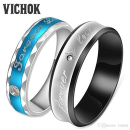 """$enCountryForm.capitalKeyWord Canada - Fashion Couples Rings 316L Stainless Steel For Lover Women Men Fine Jewelry Engagement Jewelry Vintage Ring Bands """"forever love """" VICHOK"""