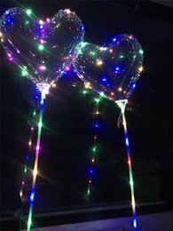 heart balloons for wholesale 2019 - Love Heart LED Luminous Balloon BoBO Ball Flashing Light Transparent Hear Shape Balloons With 80cm Pole for Valentines D