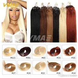 Discount loop hair extensions blonde - Black Brown Blonde Nano Ring Hair 100s lot 1g s Indian Human Hair Extensions 100pcs Nano Rings Micro Loop Ring Hair Exte