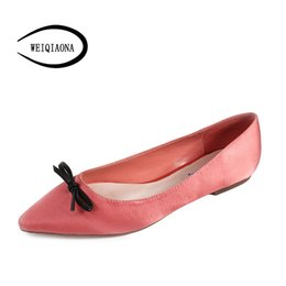 Discount blue pointed bow flats - WEIQIAONA 2018 New Silk Women Shoes Casual Shoes Flats Pointed Toe with Bow Low Heels Comfortable Ladies Dress