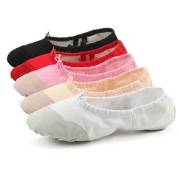 canvas shoes kid sole Australia - Girls Kids Ballet Dance Slippers Canvas Ballroom Belly Yoga Flat Leather Toe Suede Sole Practice Slipper