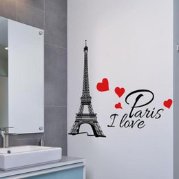 Paris Stickers For Walls NZ - Bathroom glass Paris Tower Room Wall Decoration Wall Stickers For Kids Rooms Home Decoration Accessories Kitchen
