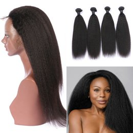 3pcs hair closure 2019 - Indian Virgin Hair With 360 Frontal Closure Pre Plucked Natural Color 3pcs Kinky Straight Human Hair Bundles With 360 La