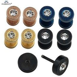 $enCountryForm.capitalKeyWord Australia - 1Pair 4 Colors Stainless Steel Punk Fake Barbell Ear Plug Female Male Double Sided Bolt Earrings Stud Ear Tunnel For Men