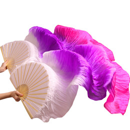 $enCountryForm.capitalKeyWord Australia - veil 100% Silk High Quality Handmade Dyed Silk Belly Fans 1Pair Left+Right hand Belly Dance Fans White+Purple+Rose 5 Sizes