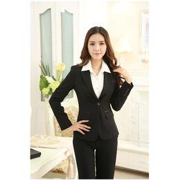 $enCountryForm.capitalKeyWord Canada - (Jacket+Pants ) Custom made Black Autumn Ladies Pants Suits Women Business Suits Winter Formal Office Uniform Designs