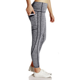 Yoga Pants Xs Canada - New Arrival high waist Women's Fashion Workout Leggings Fitness Sports Gym Running Yoga Athletic Pants pockets Blocking Tights XS-L