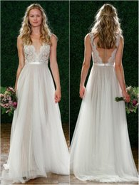 $enCountryForm.capitalKeyWord NZ - Simple Beach Lace Wedding Dresses Illusion Neck Empire Waist Tulle Skirt Bridal Gowns Sexy See Through A Line Bohemian Bridal Gowns