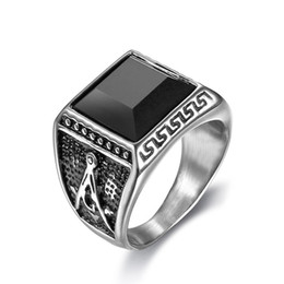 Gemstone Stainless Steel Ring Canada - 316 stainless steel men's masonic retro silver gold rings with black cz gemstone free mason ring jewelry