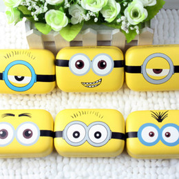 Minions Metal contact lens case cute yellow Cartoon Cosmetic Contact Lenses Box with mirror eyewear accessories L030