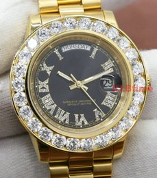 Discount pearl watch men 18Luxury Brand Gold President Day-Date Diamonds Watch Men Stainless Mother of Pearl Dial Diamond Bezel Automatic WristWa