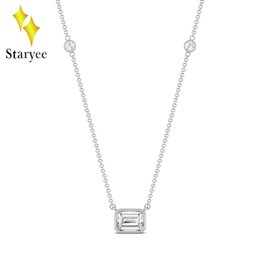 5e75a0556 Moissanite Necklace 1.05CTW Emerald Cut Moissanite East-West Solitaire with  Side Accents Lab Diamond Necklace 14K White Gold