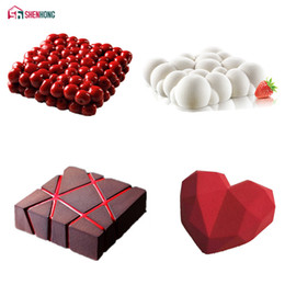 Discount chocolate panning - SHENHONG 4PCS Set Cake Mold For Baking Double Cherry Grid Block Cloud Diamond Heart 3D Silicone Mould Pan Mousse Chocola