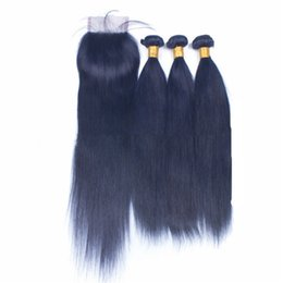 Blonde hair Blue extensions online shopping - Straight Blue Hair Bundles With Lace Closure Blue Virgin Human Hair Extensions With x4 Lace Closure Blue Bundle Deals With Lace Closure