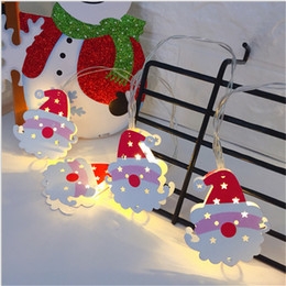 Battery Operated Xmas Tree Australia - Christmas 2M 10 LED Strings Lights Battery Box Operated Santa Claus Elk Snowman Wire Light Xmas Home Shop Garden decoration Tree Decor gifts