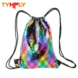 $enCountryForm.capitalKeyWord UK - Trending women bag Glitter Fashion drawstring bags Double Color shiny Sequins Backpack for Teenager Girls Travel Shopping BagP20