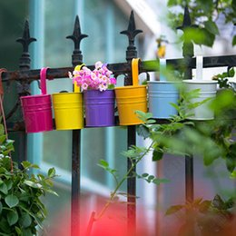 Wholesale Non Dismantling Metal Pots Hanging Plant Pots with Hook Flower Pots Flower Bucket Balcony Planter Garden Home Ornaments