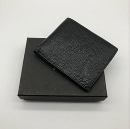 Vintage Christmas Cards Box Canada - New men's original Litchi skin MB business luxury short clip brand designer card box pocket fashion M B credit card holder MT wallet