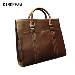 Wholesale KIBDREAM New Fashion Brown Business Portable Hight Quality Message Commercial Briefcase Laptop Bag Leather Men Bag