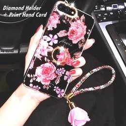 Cell phone Clip Cases online shopping - For iPhone S plus X Case Luxury Designer Bling Flowers Diamond Holder Print Hand Cord Protective Anti knock Cell phone cases