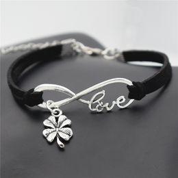 $enCountryForm.capitalKeyWord Australia - Infinity Love Four Leaf Clover Plant Flower Pendant Charm Jewelry For Women Men Black Leather Suede Rope DIY Bracelet & Bangles Pulsera Gift