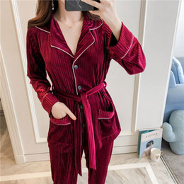 New treNd wholesalers clothes online shopping - Fashion Cardigan Pajamas Suit Brand Trend Warm Sleepwear Women Classical Long Sleeve Velvet Home Clothing New Style mh Ww