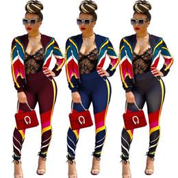 Discount black zipper leggings - Women Sports Tracksuit Gym Outfit Sportswear Color Strip Matching Patchwork Splicing Long Sleeve Zipper Coat Striped Leg
