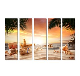 $enCountryForm.capitalKeyWord UK - Large 5 Panel Modern Wall Art Picture Sunset Seascape painting Beach conch starfish Printed On Canvas for Living Room Home Decoration SetB25