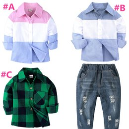 childrens winter outfit Canada - 3 style Baby boys Shirt denim pants sets childrens pacthwork color long sleeves outfits shirt+pants 2pcs set kids Clothing Sets H097