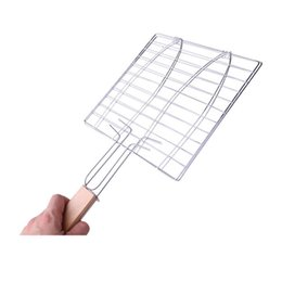 BBq grilling pans online shopping - Summer Outdoor Grilled Fish Clip Grilling Basket Roast Folder Meat Hamburger Net Bbq Tools Clips With Wooden Handle my jj