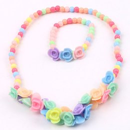 plastic pendant beads 2019 - Kids Girls Colorful Lovely Princess Beads Flowers Necklace Bracelet 2 IN 1 Jewelry Set Faddish Gift discount plastic pen