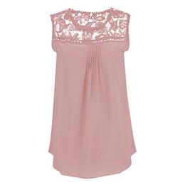 $enCountryForm.capitalKeyWord UK - 2018 Summer Women Blouses Chiffon Lace Blosue Sleeveless Patchwork Floral Shirts Women Tops Plus Size Vintage Blouses Femininas