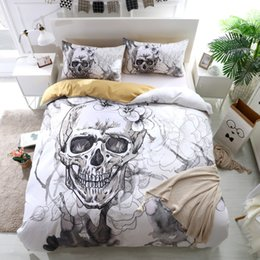 king size skull bedding 2019 - FANAIJIA 3d Flowers skull Duvet Cover With Pillowcases Sugar Skull Bedding Set Au Queen King Size Flower Soft Bed Covers