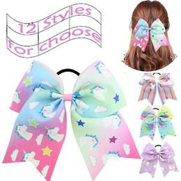 "$enCountryForm.capitalKeyWord Australia - Cute Unicorn Ribbon Hair Bands Accessories 7"" Large Cheer Hair Bows Ponytail Holder Elastic Band for Girl Cheerleader Sports 12 Styles H946F"
