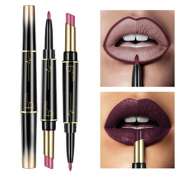 $enCountryForm.capitalKeyWord NZ - Pudaier Matte Lipstick Wateproof Double Ended Long Lasting Lipsticks Brand Lip Makeup Cosmetics Nude Dark Red Lips Liner Pencil