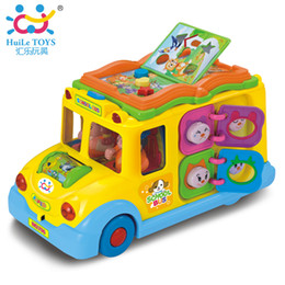 Discount toy buses for children Electric School Bus ,Children Music Car Including 8 Games ,Car Horn Songs Animal Calls ,Early Educational Toys For Children Gift
