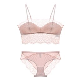French Panties UK - Sexy lashes French lace thin cotton cup summer pull-over bra set transparent women bras panties comfortable sleep underwear sets