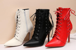 $enCountryForm.capitalKeyWord NZ - Women Lace-Up Winter Boots Zipper Leather Cross-tied Decoration Pointed Toe High Heel Ankle Boots
