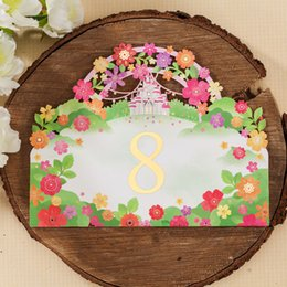 romantic wedding tables Canada - Place cards for Wedding Laser Cut Flower Wedding Table Number Cards Romantic Place Card Wedding Supplier Wholesale Free Shipping