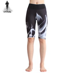 Purple White Yoga Pant NZ - YANQIN Yoga Shorts Sports Fitness Printed Elastic Quick Drying Exercise Tight Sportswear Women Knee Length Gym Shorts Pants