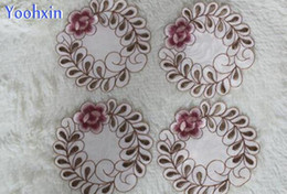 Kitchen Place Mats Australia - HOT satin place table mat cloth lace pad embroidery cup mug holder trivet glass doilies drink coaster Christmas placemat kitchen