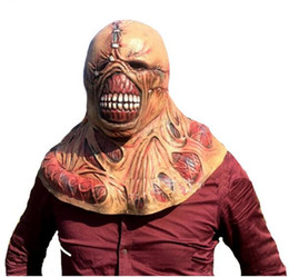 ingrosso i film di resident evil-Halloween Scary Resident Evil Tyrant Horror latex Zombie Mask Mens Puntelli Cosplay Zombie Movie Ghost maschere spedizione gratuita